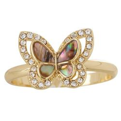 Gold Tone Abalone Butterfly Ring