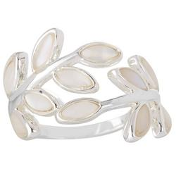 Silvertone Mother Of Pearl Vine Ring