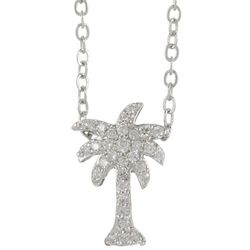 Bay Studio Pave CZ Palm Tree Pendant Necklace