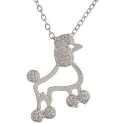 Bay Studio CZ Poodle Pendant Silver Tone Necklace