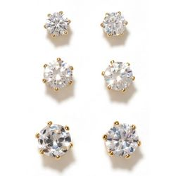 Bay Studio 3-pc. Gold Tone Round CZ Earring Set