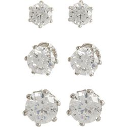Bay Studio 3-pc. Silver Tone Clear CZ Earrings Set
