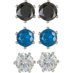 Bay Studio Clear, Black & Blue 3-pc. CZ Earring Set