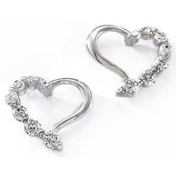 Bay Studio Silver Tone CZ Open Heart Stud Earrings