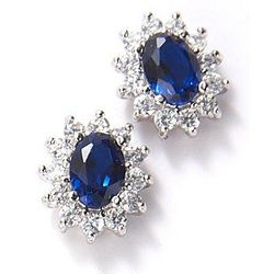 Bay Studio Blue Cubic Zirconia Princess Stud Earrings