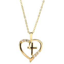 Bay Studio Gold Tone Heart & Cross Pendant Necklace