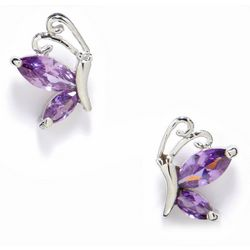 Bay Studio Marquise Purple CZ Butterfly Stud Earrings