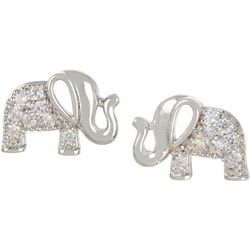 Bay Studio Silver Tone Pave CZ Elephant Stud Earrings