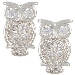 Bay Studio Silver Tone CZ Owl Stud Earrings