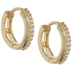 Bay Studio Huggie CZ Gold Tone Hoop Earrings