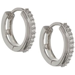 Bay Studio Huggie CZ Silver Tone Hoop Earrings