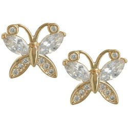 Bay Studio Marquise CZ Gold Tone Butterfly Stud Earrings
