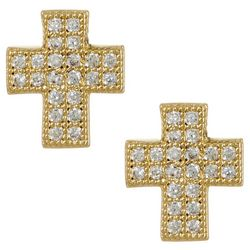 Bay Studio Cubic Zirconia Gold Tone Cross Stud Earrings