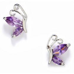 Bay Studio Purple CZ Butterfly Stud Earrings