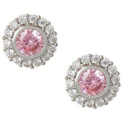 Bay Studio Rose Pink & Clear CZ Halo Stud Earrings