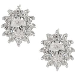 Bay Studio CZ Oval Halo Silver Tone Stud Earrings