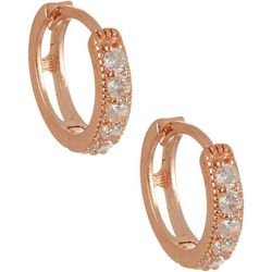 Bay Studio Rose Gold Tone CZ Small Huggie Hoop Earrings