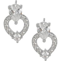Bay Studio CZ Heart Silver Tone Stud Earrings