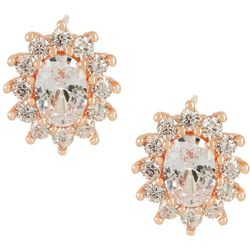 Bay Studio CZ Halo Rose Gold Tone Stud