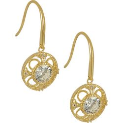 Bay Studio Gold Tone Round Filigree CZ Earrings