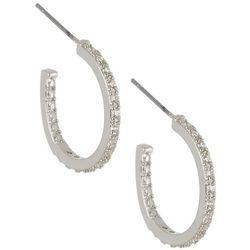 Bay Studio 20mm CZ Silver Tone C Hoop Earrings