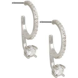 Bay Studio Silver Tone 22mm CZ Hoop Drop Earrings
