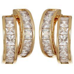Bay Studio Gold Tone Channel Set CZ Stud Earrings