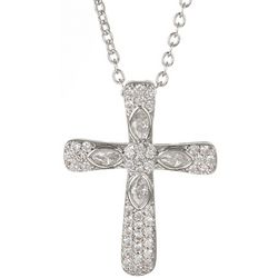 Bay Studio CZ Silver Tone Cross Pendant Necklace