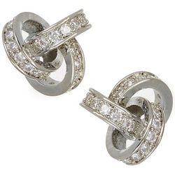 Bay Studio CZ Silver Tone 10mm Knot Stud Earrings