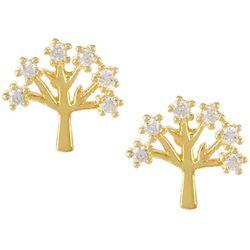 Bay Studio Gold Tone Cubic Zirconia Tree Earrings