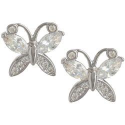 Bay Studio CZ Silver Tone Butterfly Stud Earrings