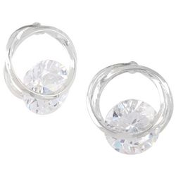 Bay Studio Cubic Zirconia Floating Stone Stud Earrings