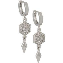 Vince Camuto Crystal Huggie Hoop Drop Earrings