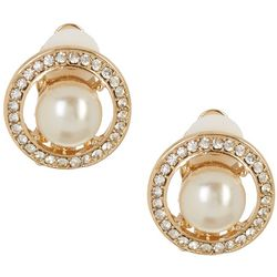 Vince Camuto Pearl & Crystal Button Clip Earrings