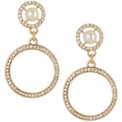 Vince Camuto Crystal & Pearl Double Drop Earrings