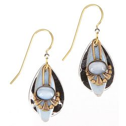 Silver Forest Pearlescent Teardrop Earrings