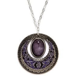 Silver Forest Circle Pendant Necklace
