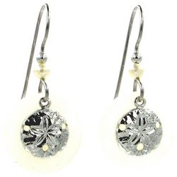 Silver Forest Silver Tone Sand Dollar Shell Drop Earrings