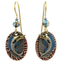 Silver Forest Gold Tone Blue Layered Marlin Drop Earrings
