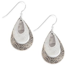 Silver Forest Textured Teardrop Layered Earrings
