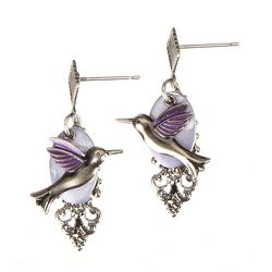 Silver Forest Hummingbird Layered Earrings