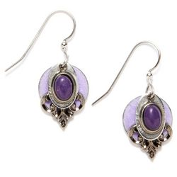 Silver Forest Purple Jade Drop Earrings