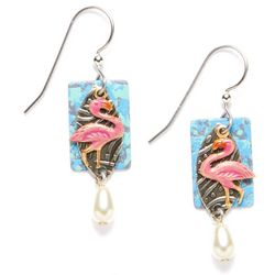Silver Forest Flamingo Pearlescent Drop Earrings