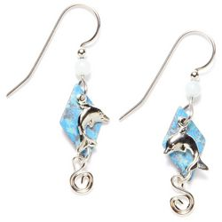 Silver Forest Patina Dolphin Earrings