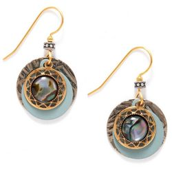 Silver Forest Layered Round Abalone Drop Earrings