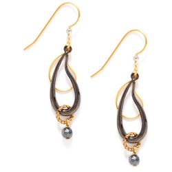 Silver Forest Black Paisley Drop Earrings