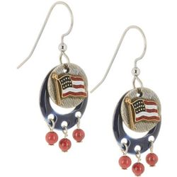 Silver Forest American Flag Dangle Earrings