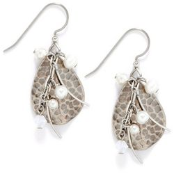 Silver Forest Hammered Teardrop Pearl Earrings