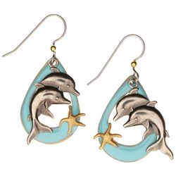 Silver Forest Double Dolphin Drop Earrings