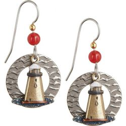 Silver Forest Lighthouse & Waves Dangle Earrings